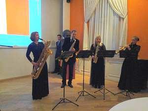 Прием Посольства Бельгии в Латвии -квартет саксофонистов из Латвийской музыкальной академии