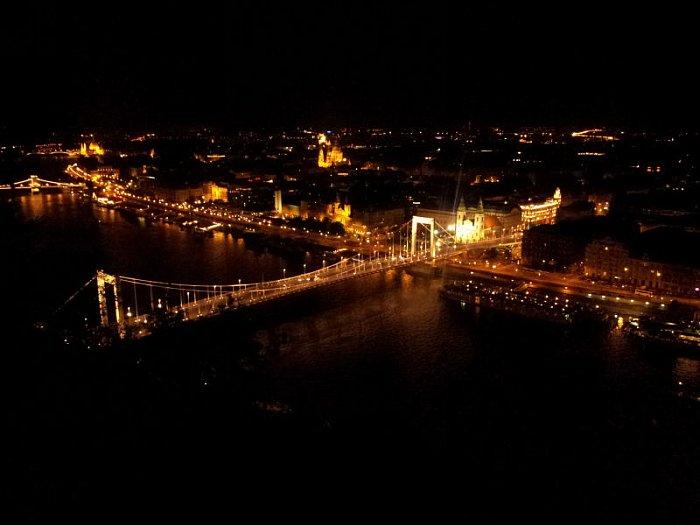 Будапешт ночной вид с горы Геллерт