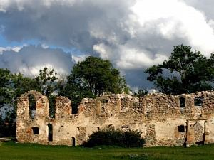 Развалины замка Ливонского ордена в Добеле