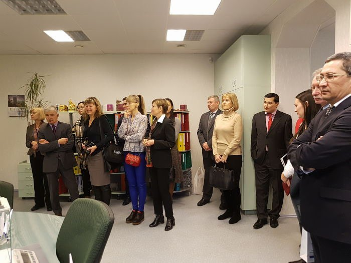 Members of the Diplomatic Club at the Dzintars factory in Riga