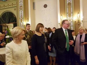 Прием Посольства Эстонии. Президент Эстонии Керсти Кальюлайд, Председатель Саема Латвии Инара Мурниеце, Посол Эстонии Тынис Мирк