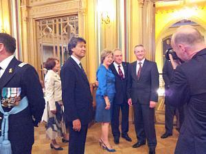 Посол Италии вЛатвии Джованни Полицци иПосол Венгрии Габор Добокай