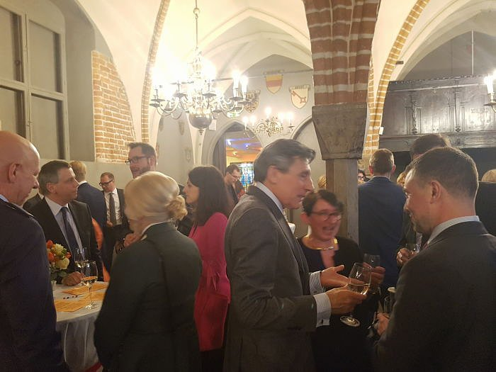 Reception dedicated to Kind's Day of the Netherlands in Riga. The ambassador of Spain Pedro Miguel Jimenez Nacher