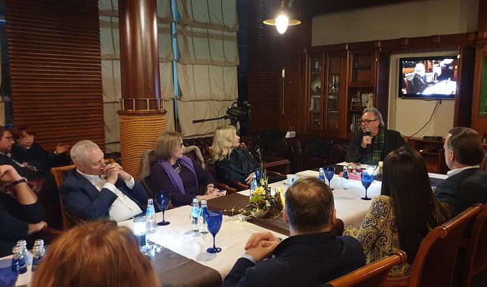 Петерис Шмидре и Андрей Павлов на встрече в Дипломатическом экономическом клубе 31.01.2020