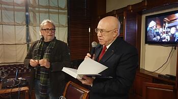 Петерис Шмидре и Янис Лелис на встрече в Дипломатическом экономическом клубе 31.01.2020