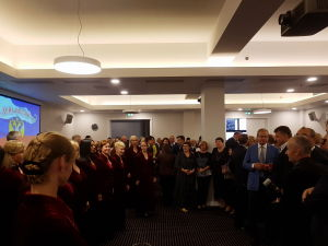 Прием Посольства России в Латвии. Хор Благовест исполняет гимны Латвии и России