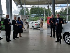 120th anniversary of ŠKODA car manufacturer. The Ambassador of Czech Republic in Latvia H.E. Mr Pavol Šepel'ák, Chairman of the Board of Karlo Motors Mr.Aivars Apkalns